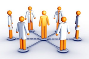 Patient in the middle of 4 physicians resembling the ACO model