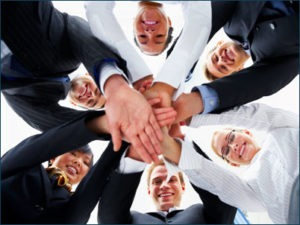 Group of employes working together