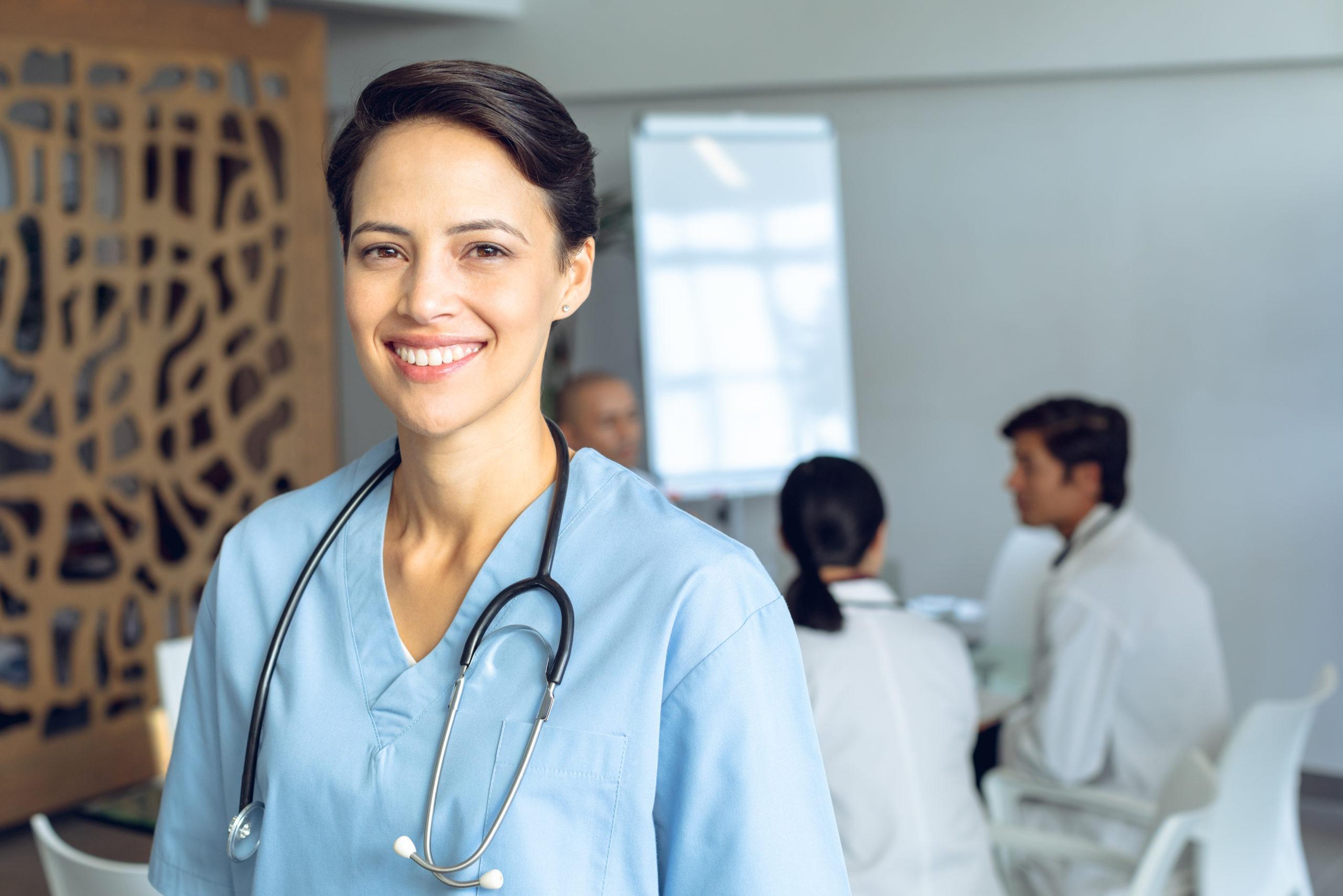 Pleased Nurse Smiling